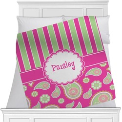 Pink & Green Paisley and Stripes Blanket (Personalized)
