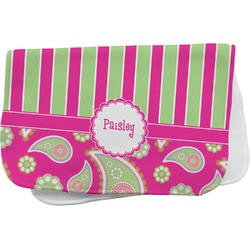 Pink & Green Paisley and Stripes Burp Cloth (Personalized)