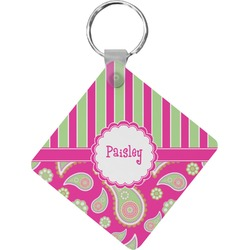 Pink & Green Paisley and Stripes Diamond Key Chain (Personalized)