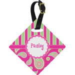 Pink & Green Paisley and Stripes Diamond Luggage Tag (Personalized)