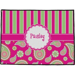 Pink & Green Paisley and Stripes Door Mat (Personalized)