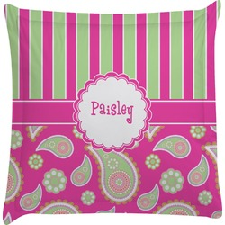 Pink & Green Paisley and Stripes Euro Sham Pillow Case (Personalized)