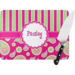 Pink & Green Paisley and Stripes Rectangular Glass Cutting Board (Personalized)