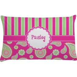 Pink & Green Paisley and Stripes Pillow Case (Personalized)