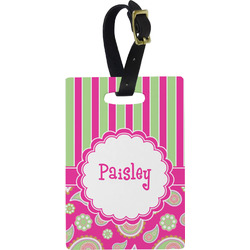 Pink & Green Paisley and Stripes Rectangular Luggage Tag (Personalized)
