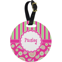 Pink & Green Paisley and Stripes Round Luggage Tag (Personalized)