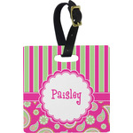 Pink & Green Paisley and Stripes Square Luggage Tag (Personalized)
