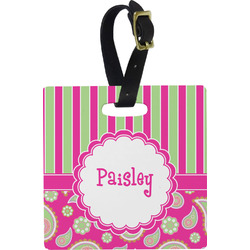 Pink & Green Paisley and Stripes Luggage Tags (Personalized)
