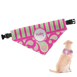 Pink & Green Paisley and Stripes Dog Bandana - Large (Personalized)