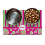 Pink & Green Paisley and Stripes Dog Food Mat (Personalized)