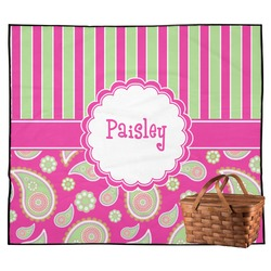 Pink & Green Paisley and Stripes Outdoor Picnic Blanket (Personalized)