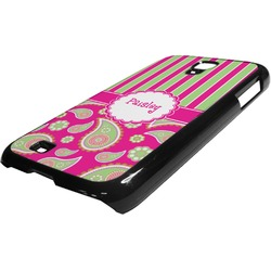Pink & Green Paisley and Stripes Plastic Samsung Galaxy 4 Phone Case (Personalized)