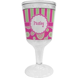 Pink & Green Paisley and Stripes Wine Tumbler - 11 oz Plastic (Personalized)