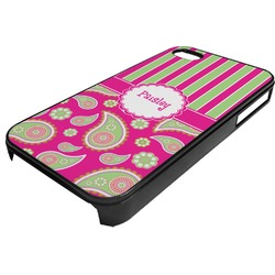 Pink & Green Paisley and Stripes Plastic 4/4S iPhone Case (Personalized)
