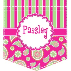 Pink & Green Paisley and Stripes Iron On Faux Pocket (Personalized)