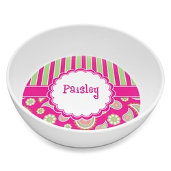 Pink & Green Paisley and Stripes Melamine Bowl 8oz (Personalized)
