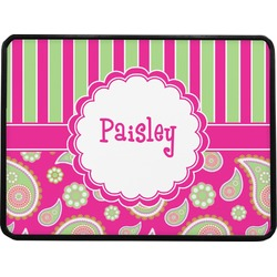 """Pink & Green Paisley and Stripes Rectangular Trailer Hitch Cover - 1.25"""" (Personalized)"""