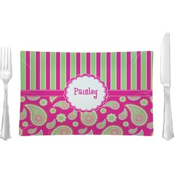 Pink & Green Paisley and Stripes Rectangular Dinner Plate (Personalized)