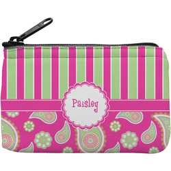 Pink & Green Paisley and Stripes Rectangular Coin Purse (Personalized)