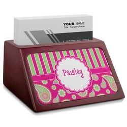 Pink & Green Paisley and Stripes Red Mahogany Business Card Holder (Personalized)