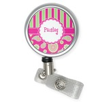 Pink & Green Paisley and Stripes Retractable Badge Reel (Personalized)