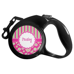 Pink & Green Paisley and Stripes Retractable Dog Leash (Personalized)