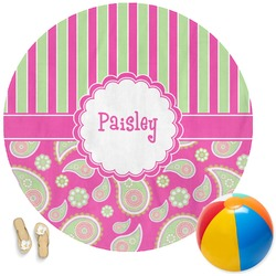 Pink & Green Paisley and Stripes Round Beach Towel (Personalized)