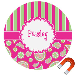 Pink & Green Paisley and Stripes Round Car Magnet (Personalized)