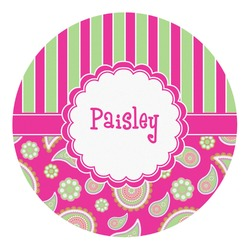 Pink & Green Paisley and Stripes Round Decal (Personalized)