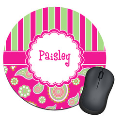 Pink & Green Paisley and Stripes Round Mouse Pad (Personalized)