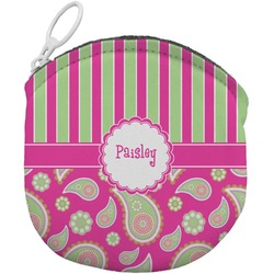 Pink & Green Paisley and Stripes Round Coin Purse (Personalized)