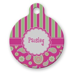 Pink & Green Paisley and Stripes Round Pet Tag (Personalized)