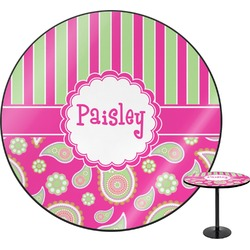 Pink & Green Paisley and Stripes Round Table (Personalized)