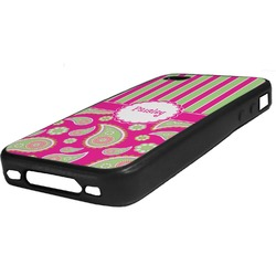 Pink & Green Paisley and Stripes Rubber iPhone Case 4/4S (Personalized)