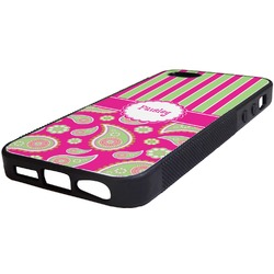 Pink & Green Paisley and Stripes Rubber iPhone 5/5S Phone Case (Personalized)