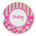 Pink & Green Paisley and Stripes Sandstone Car Coasters (Personalized)