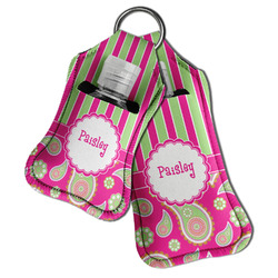 Pink & Green Paisley and Stripes Hand Sanitizer & Keychain Holder (Personalized)