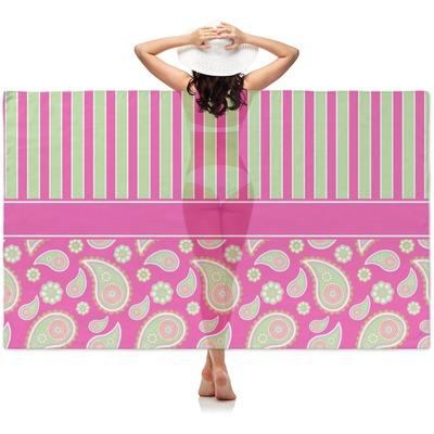Pink & Green Paisley and Stripes Sheer Sarong (Personalized)