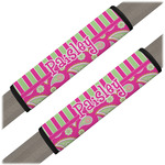 Pink & Green Paisley and Stripes Seat Belt Covers (Set of 2) (Personalized)