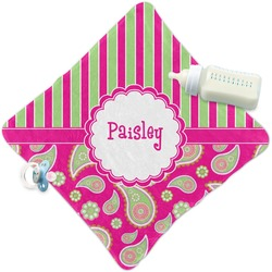 Pink & Green Paisley and Stripes Security Blanket (Personalized)