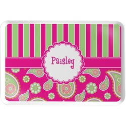 Pink & Green Paisley and Stripes Serving Tray (Personalized)