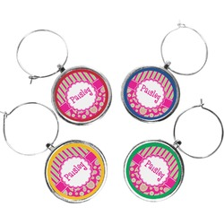 Pink & Green Paisley and Stripes Wine Charms (Set of 4) (Personalized)