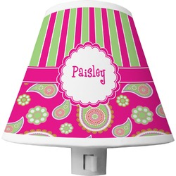 Pink & Green Paisley and Stripes Shade Night Light (Personalized)