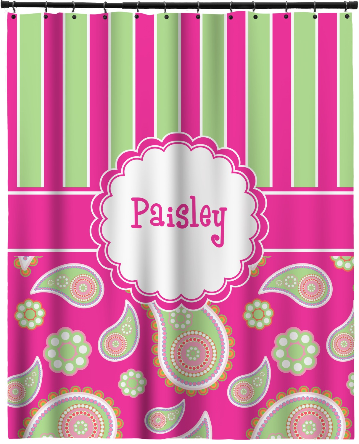 Pink Green Paisley And Stripes Extra Long Shower Curtain 70 X90 Personalized Youcustomizeit