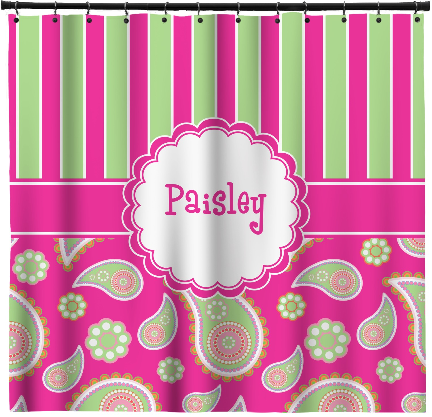 Pink Green Paisley And Stripes Shower Curtain 69 X70 Personalized Youcustomizeit