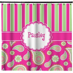 Pink Green Paisley And Stripes Shower Curtain Personalized
