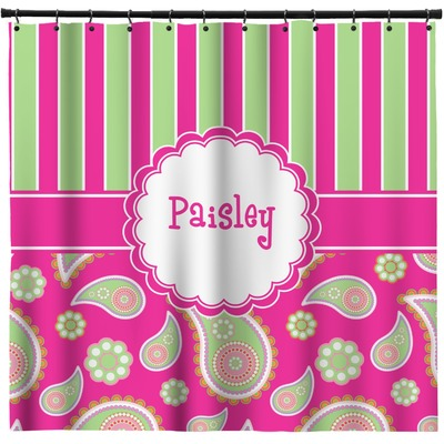 Pink Green Paisley And Stripes Shower Curtain Custom Width Height Personalized