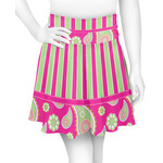 Pink & Green Paisley and Stripes Skater Skirt (Personalized)
