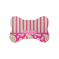 Pink & Green Paisley and Stripes Bone Shaped Dog Food Mat (Small) (Personalized)