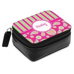 Pink & Green Paisley and Stripes Small Leatherette Travel Pill Case (Personalized)
